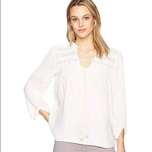 Michael Stars Double Gauze Peasant Top Embroidered